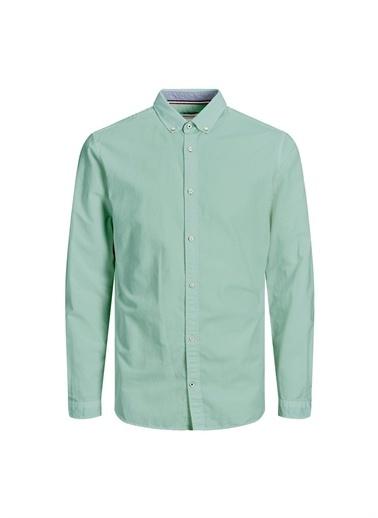 Jack & Jones Jack & Jones 12163855 Düğmeli Yaka Uzun Kollu Slim Fit Erkek Gömlek Yeşil